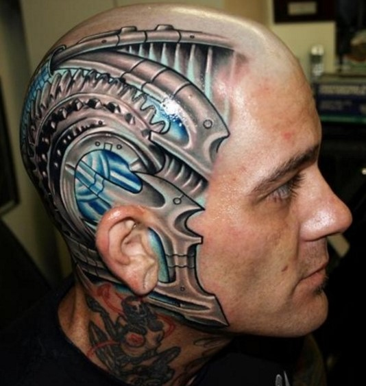 Robot face tattoo