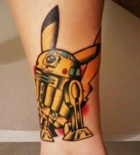 Robot pikachu tattoo