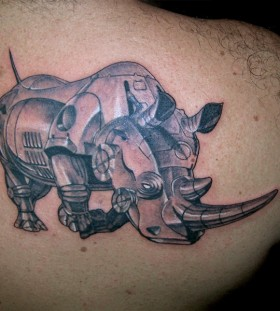 Robot rhino back tattoo