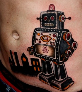 Robot tattoo by Matt Cooley
