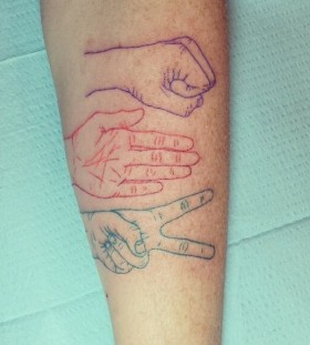 Rock paper scissors tattoo