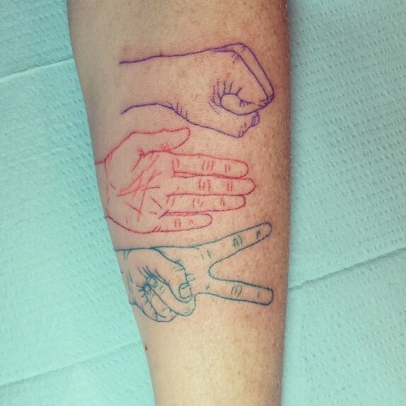 Rock paper scissors tattoo