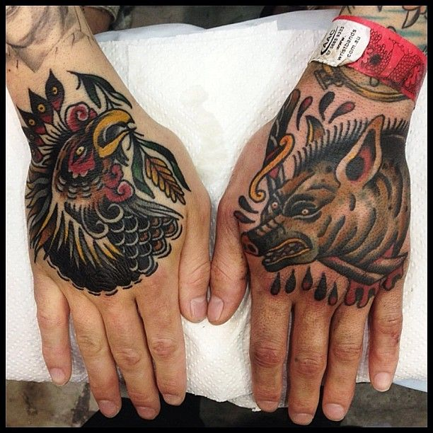 Rooster and boar hand tattoos by James McKenna