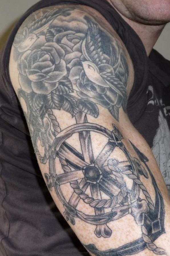 Rope and anchor arm tattoo