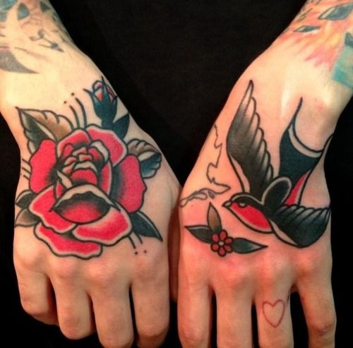 Rose and sparrow hand tattoos by Nick Oaks