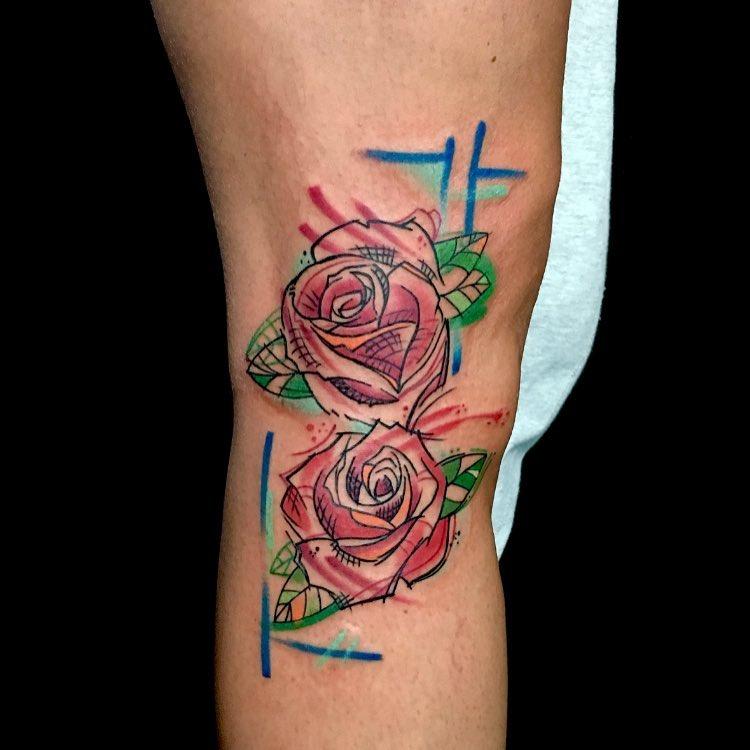 rose sketch style tattoo by sandro secchin simao