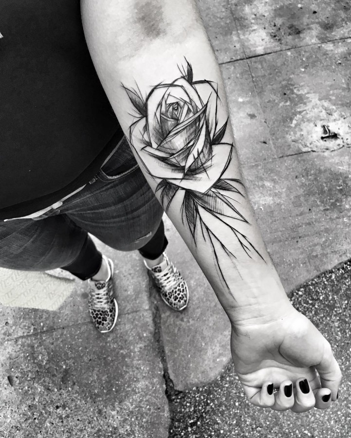 rose sketch style tattoo by ineepine