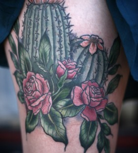 Roses and cactus tattoo