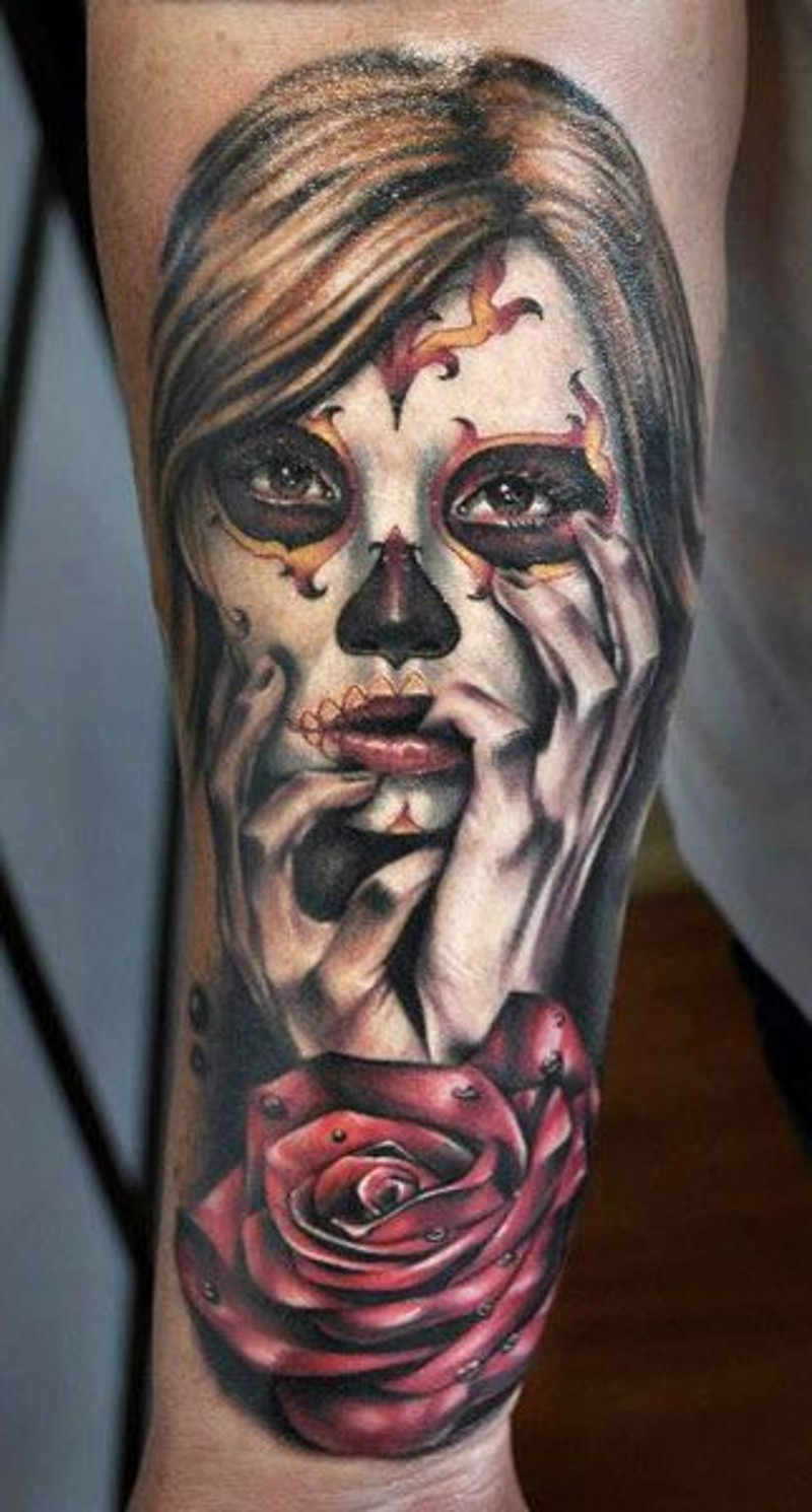 Sad beautiful santa muerte girl Tattoo