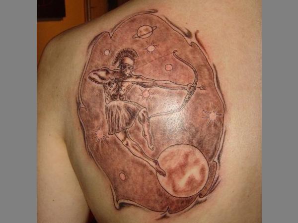 Sagittarius and universe tattoo