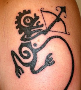 Sagittarius black ink tattoo