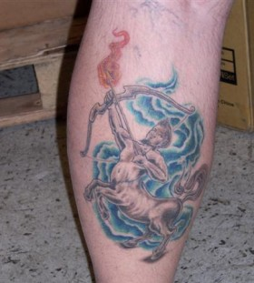 Sagittarius with flaming arrow tattoo