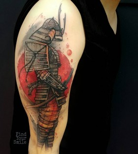 samurai-watercolor-tattoo