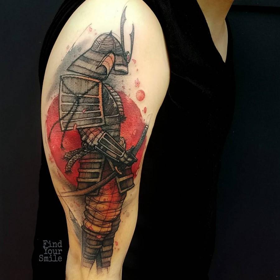 samurai-watercolor-tattoo