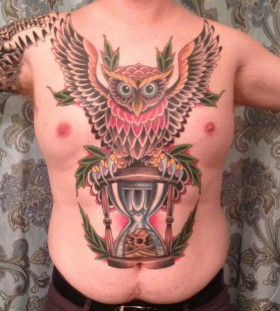Sand clock and owl tattoo