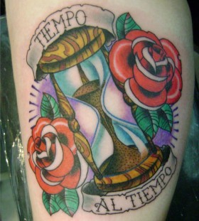 Sand clock and roses tattoo