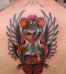 Sand clock with wings back tattoo