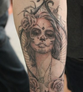 Santa Muerte . Black and gray tattoo