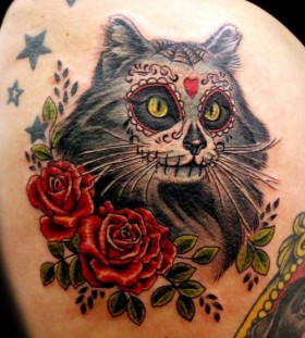Santa Muerte cat tattoo