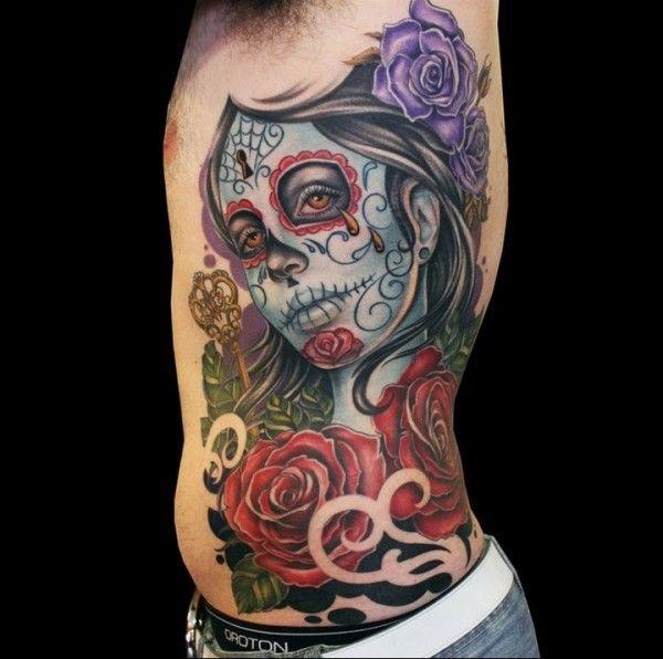 Santa muerte tattoo on side