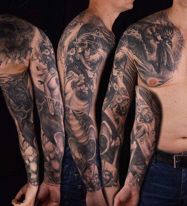Scary full arm tattoo
