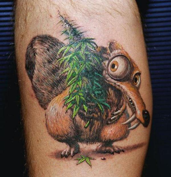 Scrat holding herbs tattoo