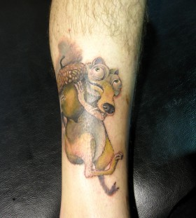 Scrat tattoo on leg