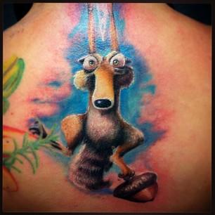 Scrat with a nut back tattoo