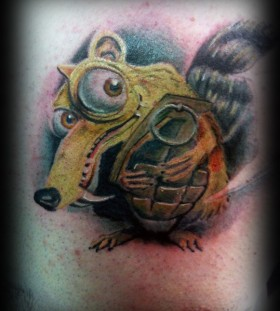 Scrat with grenade tattoo