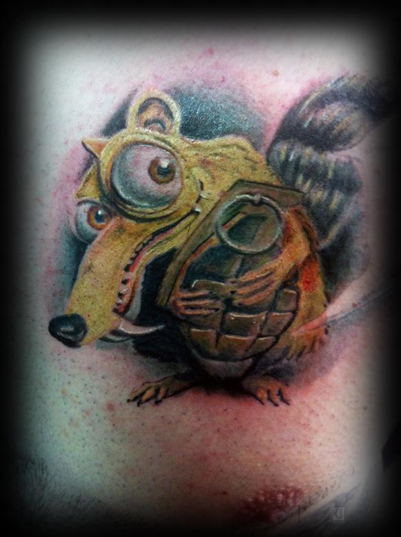 Scrat with grenade tattoo