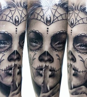 Sexy woman Santa Muerte tattoo