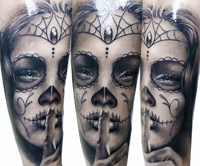 Sexy woman Santa Muerte tattoo