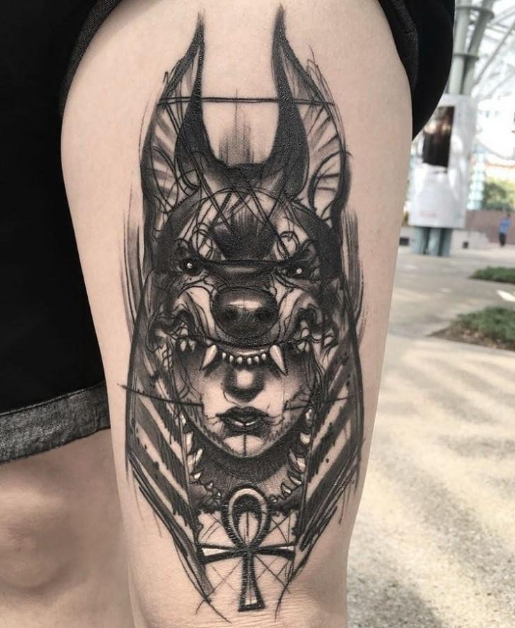 shaman lady sketch style tattoo by ael lim singapore