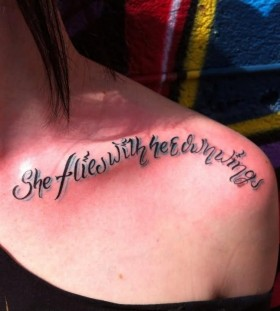 She flies with the wind collarbone tattoo