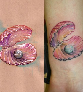 Shell and pearl tattoo