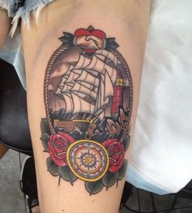 Ship and roses tattoo by Dan Molloy