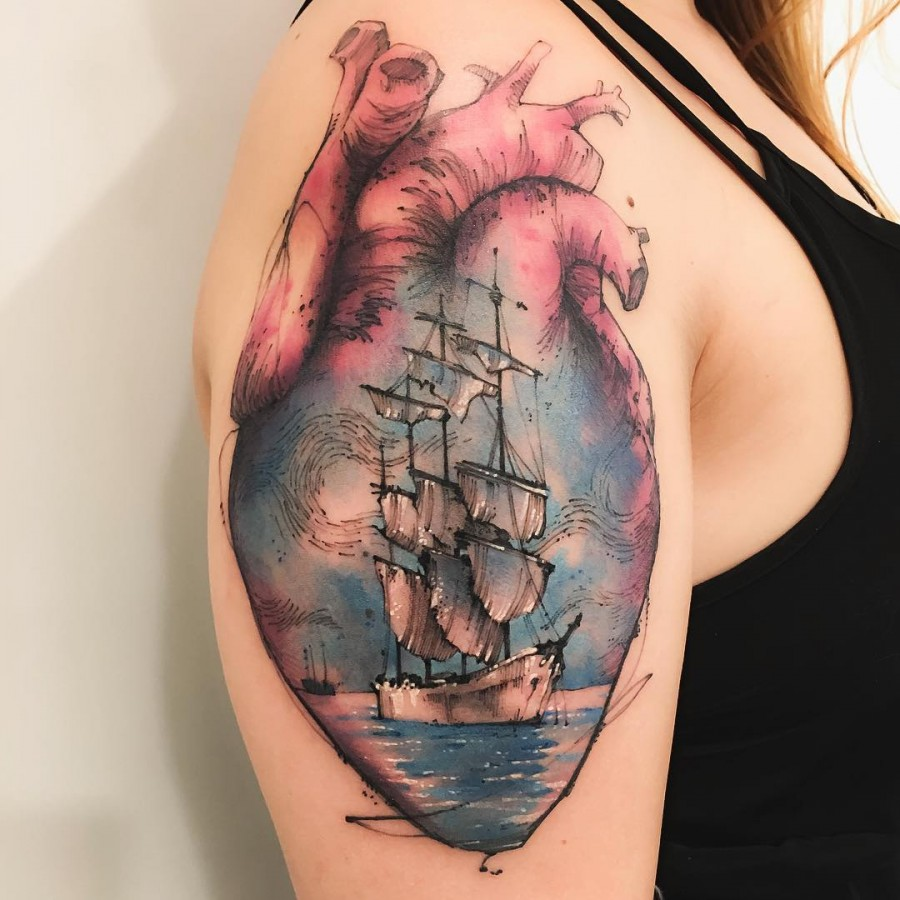 ship sketch style tattoo by victor montaghini