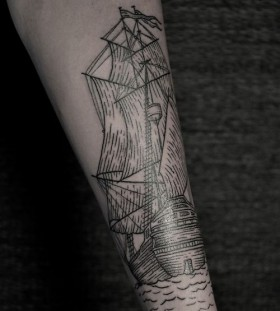 Ship tattoo on arm by Thomas Cardiff