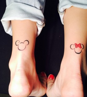 Simple Minnie and Mickey tattoos