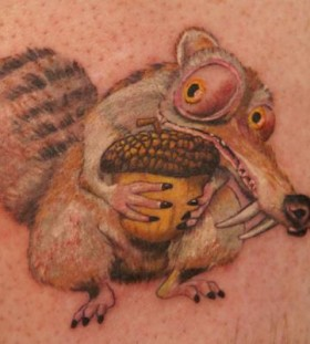 Simple Scrat with nut tattoo