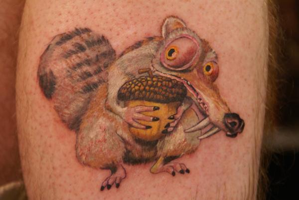 Simple Scrat with nut tattoo