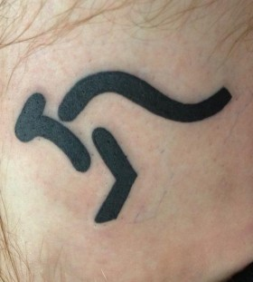 Simple black kangaroo tattoo