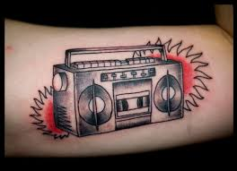 Simple boombox arm tattoo