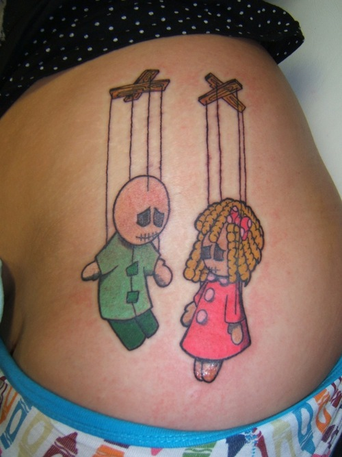 Simple coloured puppets tattoo
