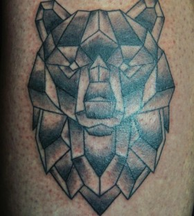 Simple geometrical bear tattoo