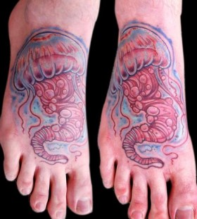 Simple jellyfish foot tattoo