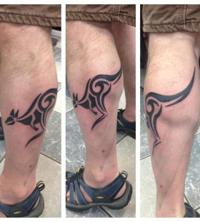 Simple kangaroo leg tattoo