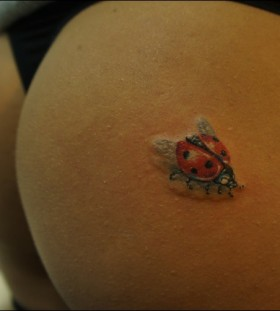 Simple ladybug butt tattoo