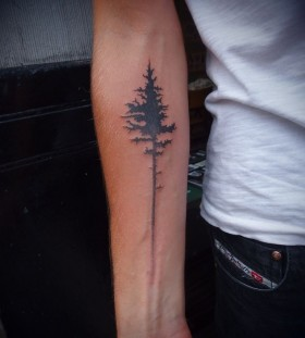 Simple pine tree tattoo