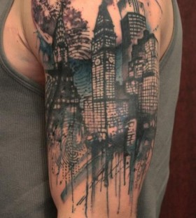 Simple shoulder town tattoo